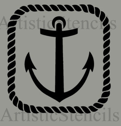 Anchor Rope Frame Stencil 10x8.5