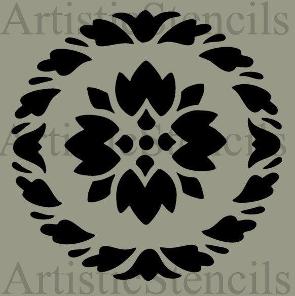 Wreath with Motif Stencil 10x10