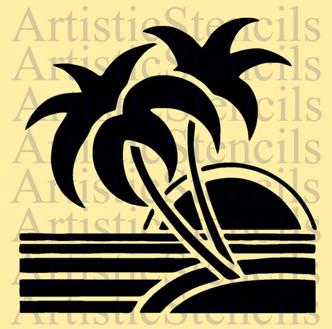 Art Deco Beach Scene Stencil - Various sizes