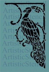 Art Deco Peacock Stencil 12x7.7