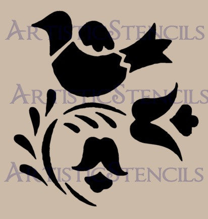 Bird and Flower Design Stencil - Various Sizes