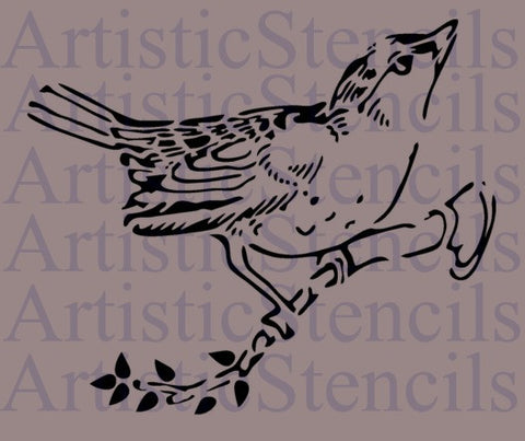 Bird on Limb Stencil 10x8.4