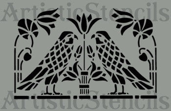 Americana Birds and Flowers Stencil 10x6.5