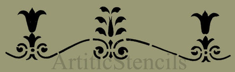 Americana Tulip Scroll Border Stencil 10x2.5