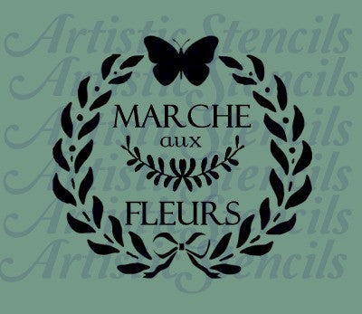 French Butterfly Wreath Stencil 10x10