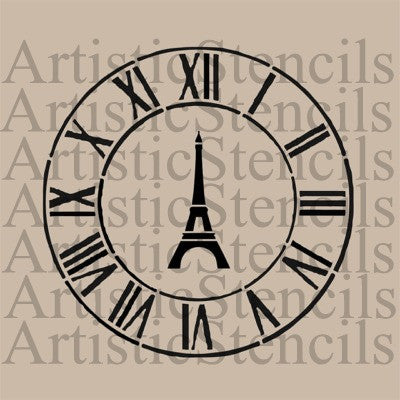 Eiffel Tower Clock Stencil - 10x10 inch