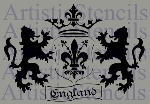English Coat of Arms Stencil - 10x14.3