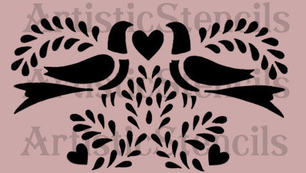 Doves and Hearts Stencil 10x5.6