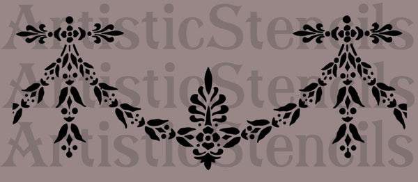 French Swag Drape Stencil 10x4
