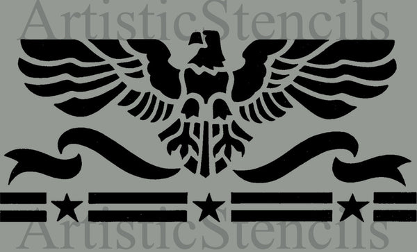 Eagle Stars Stripes Stencil 10x4.6