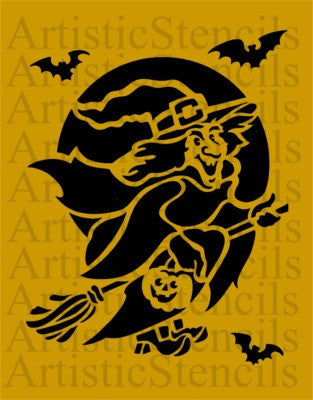 Flying Halloween Witch Stencil 10x7.8