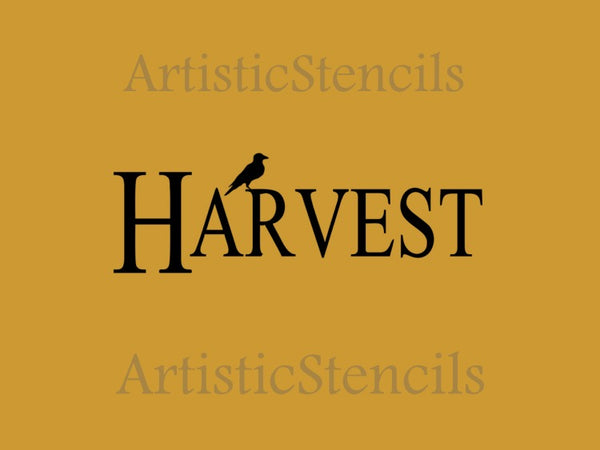 Harvest with crow Stencil 10x4