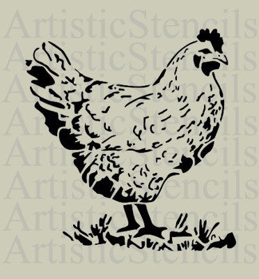 French Hen Stencil 10x9.5