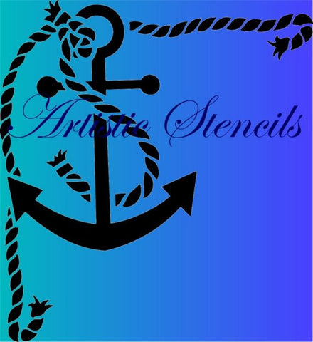 Anchor in Rope Frame Stencil - Various Sizes