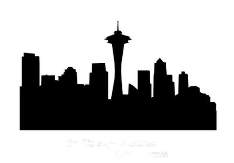 Seattle Skyline Stencil 10x5