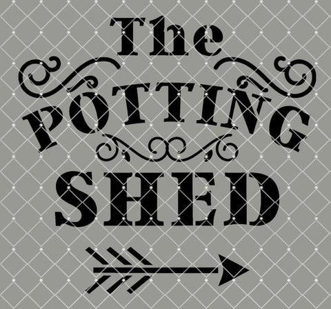 The Potting Shed Farmhouse Stencil 10x9.3   New!