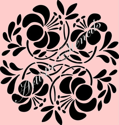Round Floral Ornament No 2 Stencil