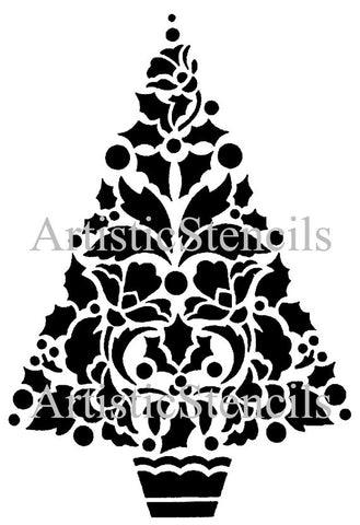 Holly Christmas Tree Stencil 10x14.7