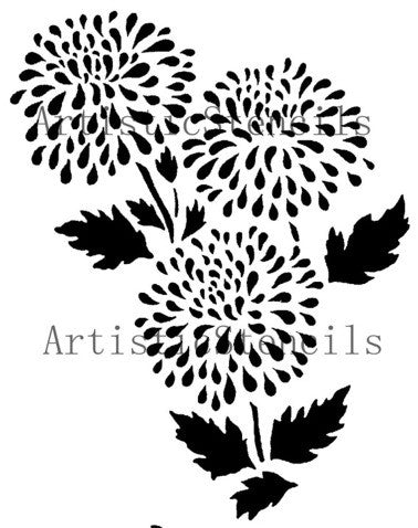 Chrysantheum Flower Stencil 10x7.75
