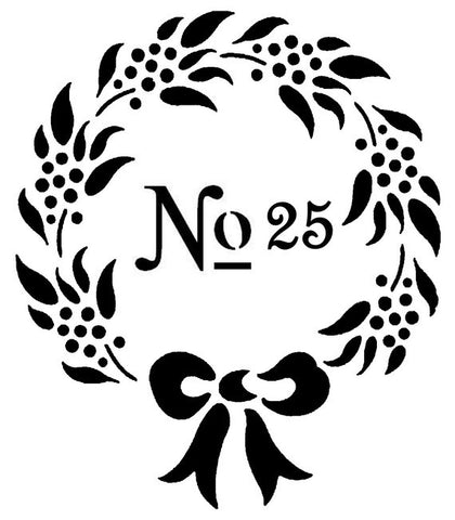 No 25 Christmas Wreath with bow 10x8.5