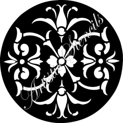 Round Floral Damask Ornament Stencil 10x10