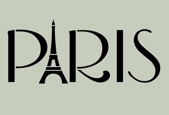 Paris with Eiffel Tower Typography Stencil 10x4.2