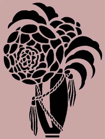Art Deco Flower and Vase Stencil - 10x7.5