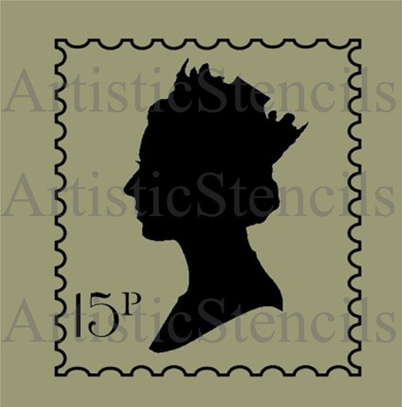 Queen Elizabeth Postage Stamp Stencil  Various sizes