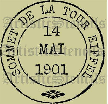 French Eiffel Tower Postage Stamp Stencil - Various sizes