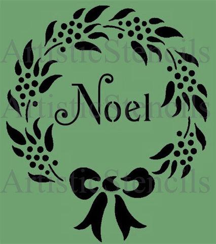 Christmas Noel Wreath Stencil 10x8.5