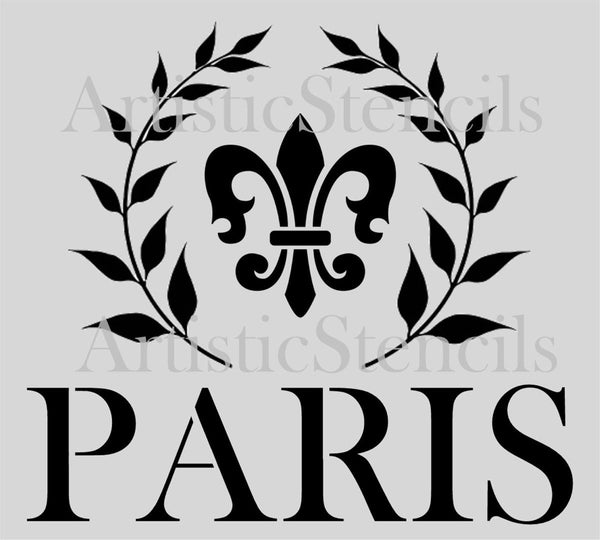 Paris fleur de lis in Wreath 10x9