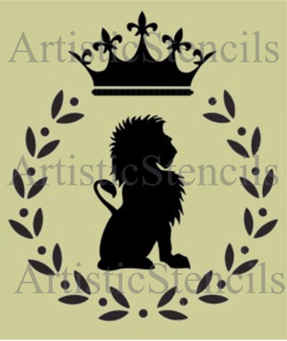 Lion in Wreath Stencil - Various sizes