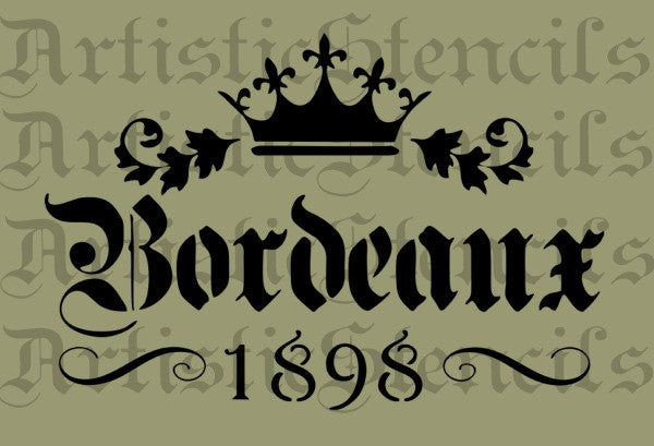 Bordeaux Crown Stencil - Various sizes