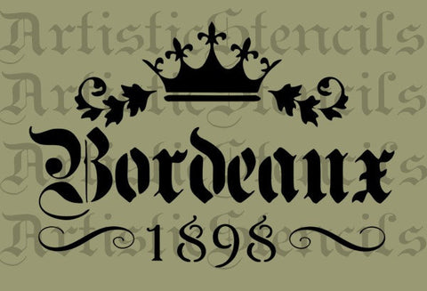 Bordeaux Crown Stencil - 10x6.7 inches
