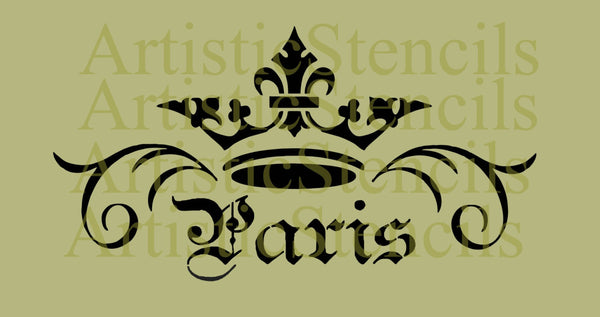 STENCIL Crown Paris Scroll 6.5x12