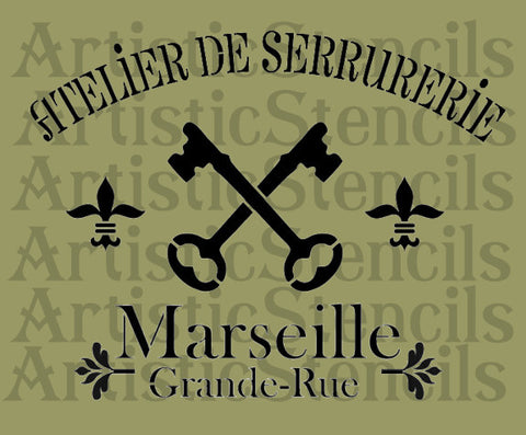 French Marseille Stencil 10x13