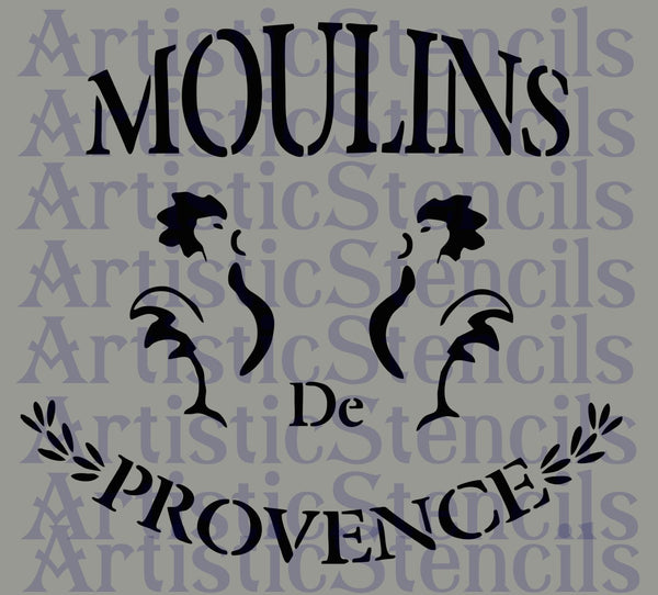 Moulins de Provence with Roosters Stencil 10x9