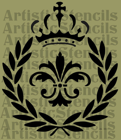 Laurel Wreath Fleur de lis Crown Stencil 10x8.7