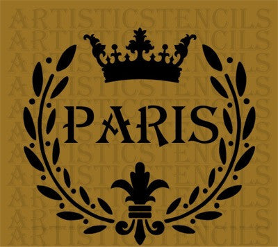 Paris Wreath Crown Fleur de lis Stencil 10x9.4