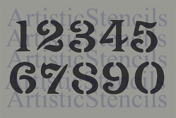 Vintage Oly Font Numbers Stencil Set - Various Sizes