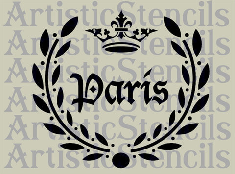 Paris Laurel Wreath Stencil 10x9
