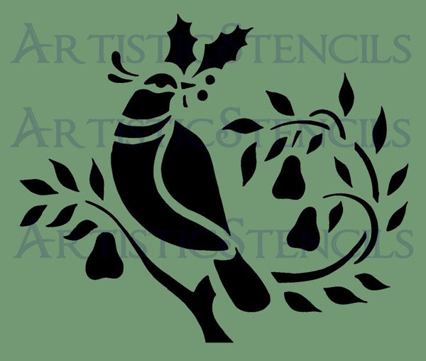 Partridge in a Pear Tree Stencil - Various Sizes