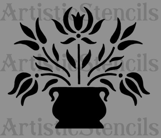 Potted Flowers Stencil 10x8.6