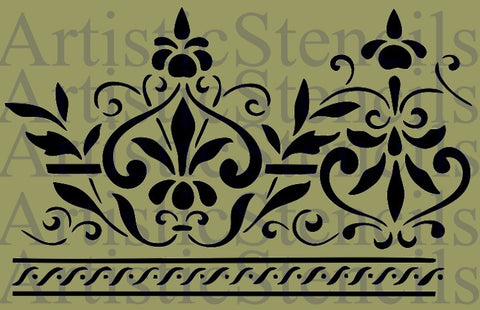 Scroll Border Design Stencil - 10x6.5