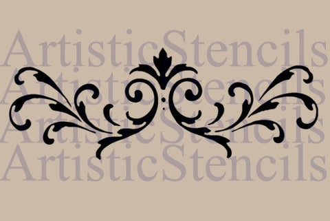 Flourish Scroll No 2 Stencil - 3.6x10