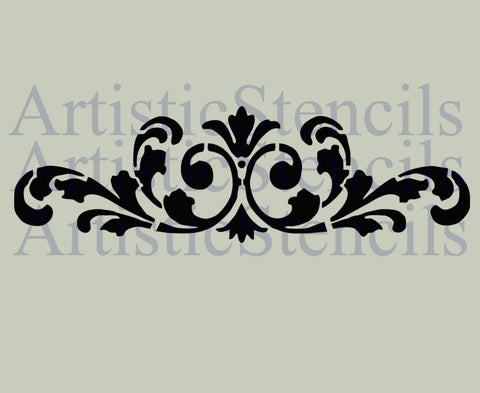 Flourish Scroll Stencil - 3x10