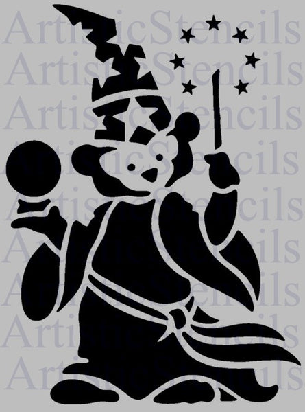 Teddy Bear Wizard Stencil 8x6