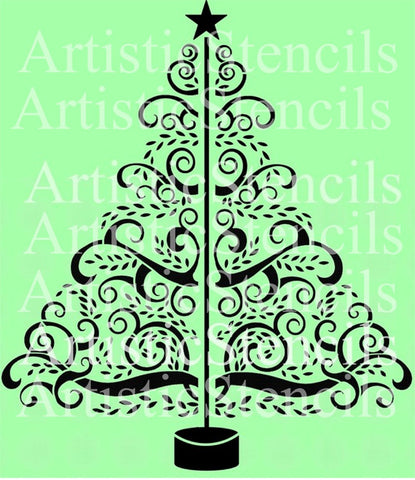 Swirly Christmas Tree Stencil 12x10.5