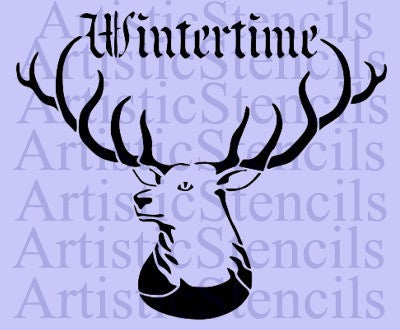 Winter Time Deer Stencil - Various sizes