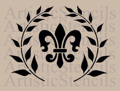 French Fleur de lis in Wreath 8x6